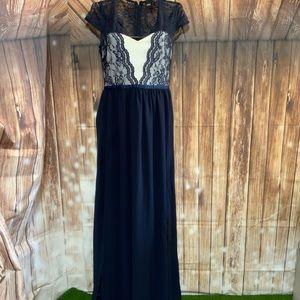 ASOS Maxi Long Navy & Ivory Dress SZ 6